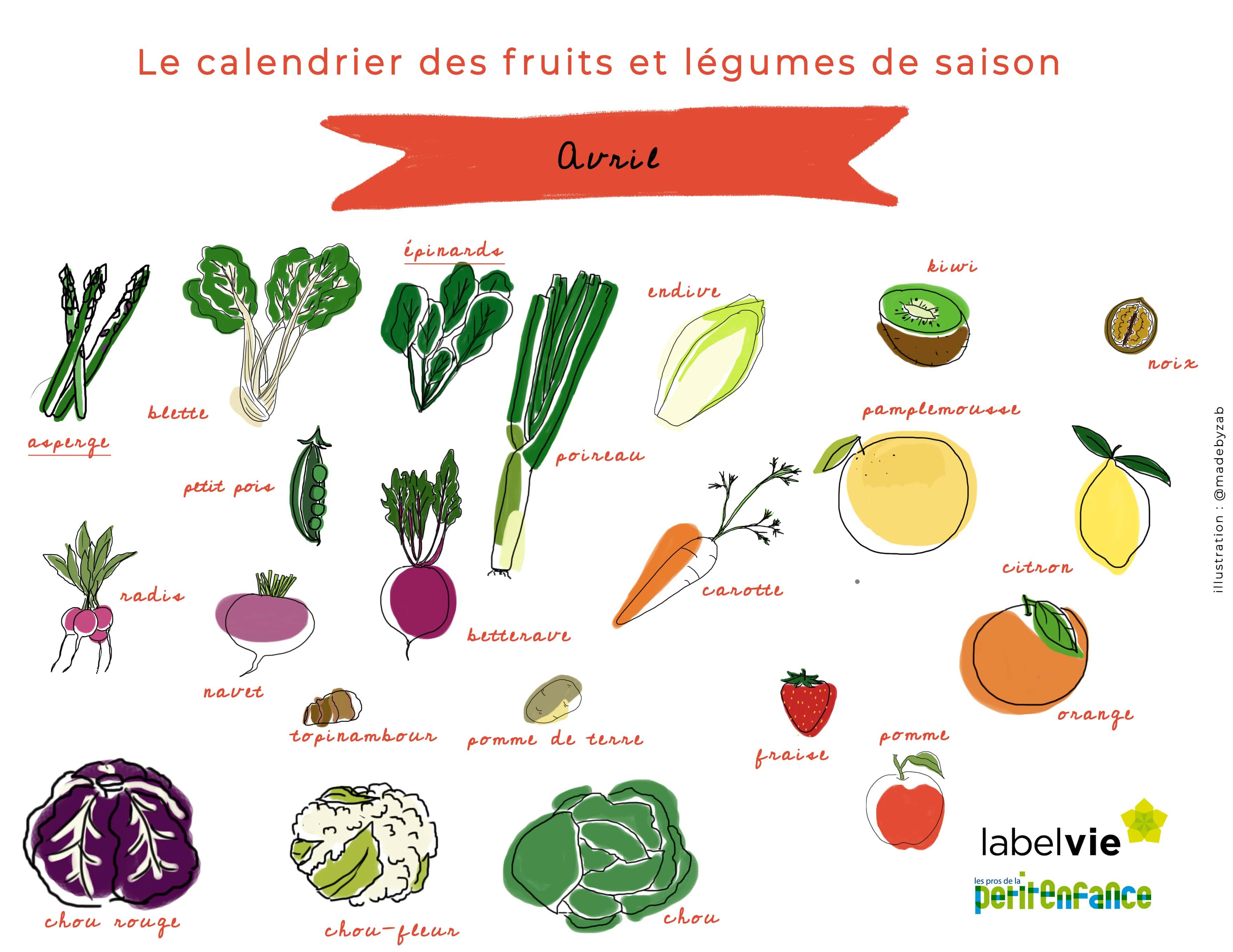 Le calendrier des fruits et légumes d