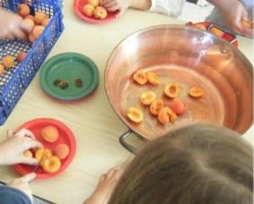 enfants qui coupe des abricots