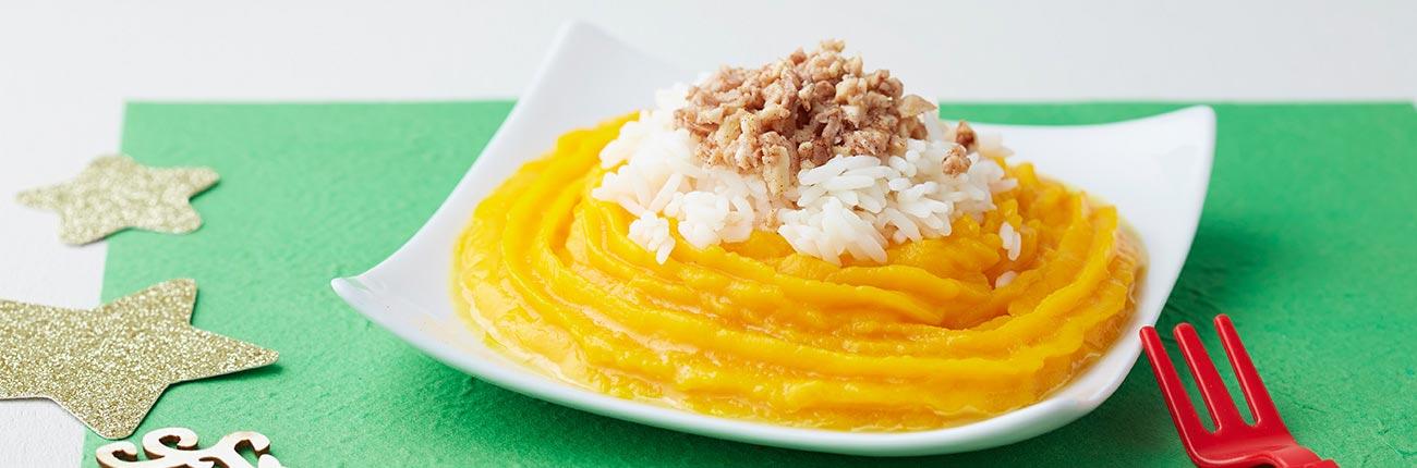 chapon aux épices et au miel potimarron et riz