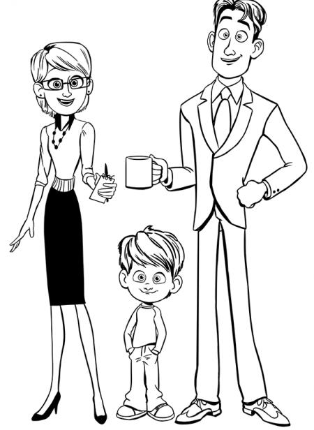 dessin - coloriage de parents