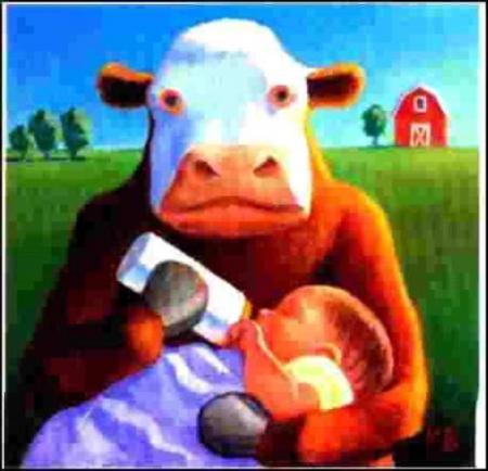 Vache qui donne un biberon à un bébé