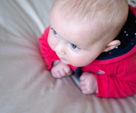 Petit bébé se tient sur le ventre