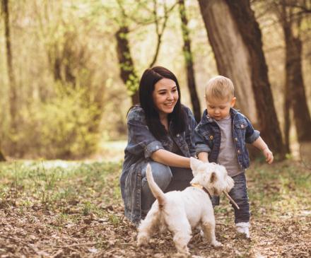 femme, chien, enfant