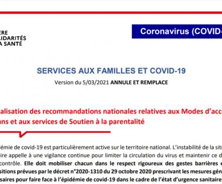 Actualisation consignes sanitaires covid-19 et modes d'accueil 0-3 ans