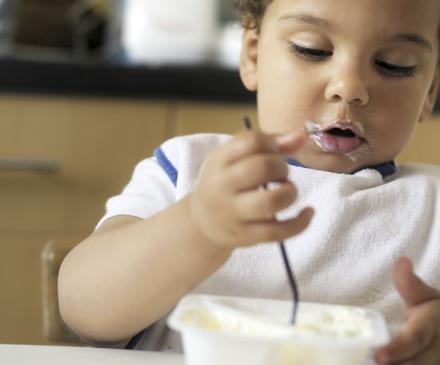 tout-petit mange yaourt